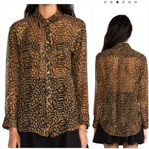 Equipment Animal Print Leopard Silk Button Down XS